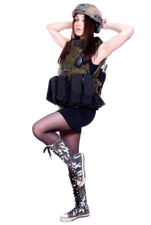 camouflage woman: Woman in a military camouflage isolated over white background