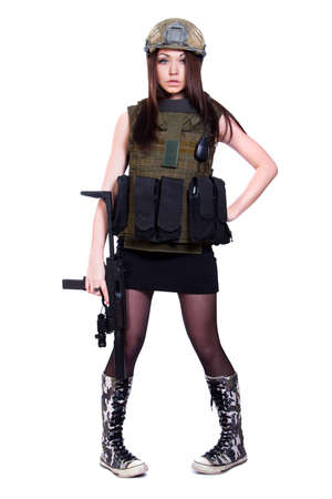 camouflage woman: Woman in a military camouflage with a sub machine gun isolated over white