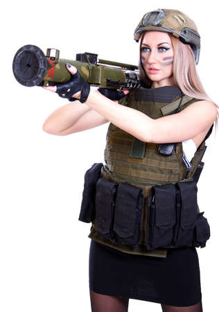 camouflage woman: Woman in a military camouflage with a grenade launcher isolated over white  Stock Photo