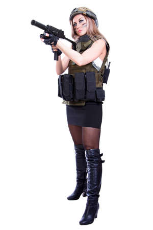 camouflage woman: Woman in a military camouflage holding the smg isolated over white