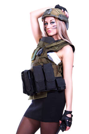 bulletproof vest: Woman in a military camouflage with a walkie-talkie over white background
