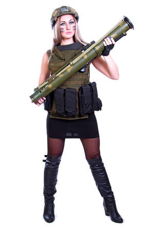 Woman in a military camouflage with a bazooka isolated over white