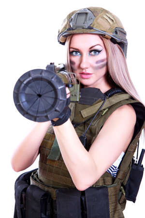 bazooka: Woman in a military camouflage with a bazooka isolated over white
