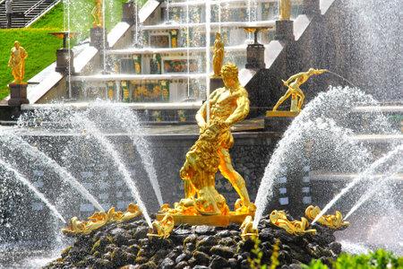 Samson Fountain of the Grand Cascade in Peterhof Palace, Russia