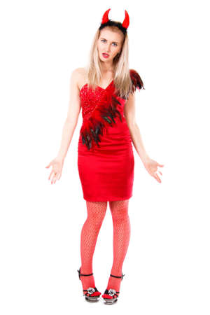 tricky: Misunderstanding young woman in a devil costume isolated over white background