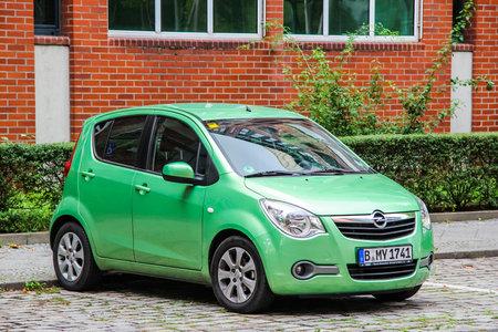 capacious: BERLIN, GERMANY - SEPTEMBER 12, 2013: Motor car Opel Agila at the city street.