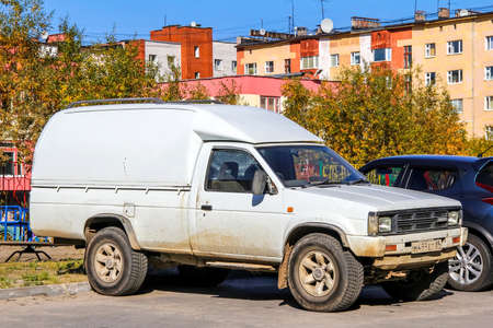 farm duties: NOVYY URENGOY, RUSSIA - AUGUST 28, 2012: Motor car Nissan Datsun at the city street, Editorial