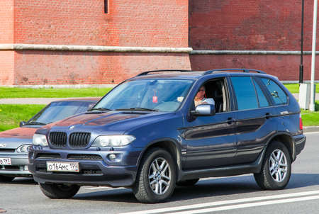 crossover: MOSCOW, RUSSIA - MAY 5, 2012: Blue crossover BMW E53 X5 at the city street. Editorial