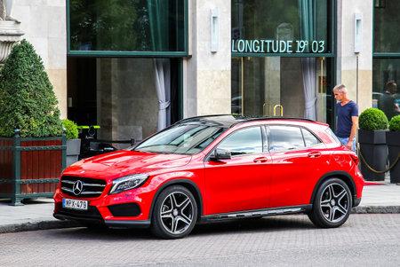 motor car: BUDAPEST, HUNGARY - JULY 23, 2014: Motor car Mercedes-Benz X156 GLA-class at the city street.