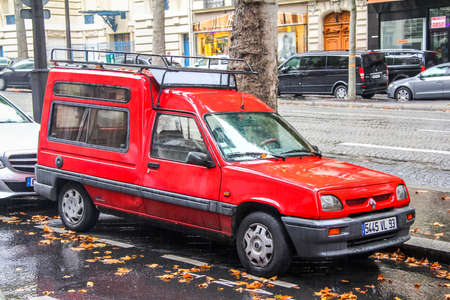 PARIS, FRANCE - AUGUST 8, 2014: Motor car Renault Express at the city street.