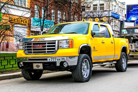 utilitarian: YEKATERINBURG, RUSSIA - MAY 9, 2014: Motor car GMC Sierra 2500HD at the city street. Editorial