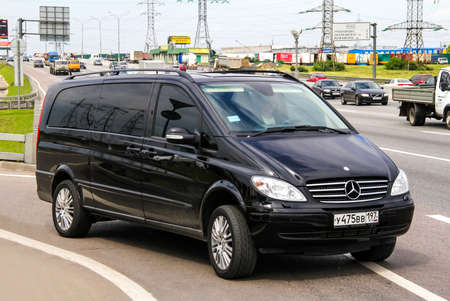 mercedes: MOSCOW, RUSSIA - JUNE 2, 2012: Motor car Mercedes-Benz W639 Viano at the interurban freeway.