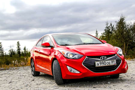 NOVYY URENGOY, RUSSIA - AUGUST 23, 2015: Motor car Hyundai Elantra at the countryside. Editorial