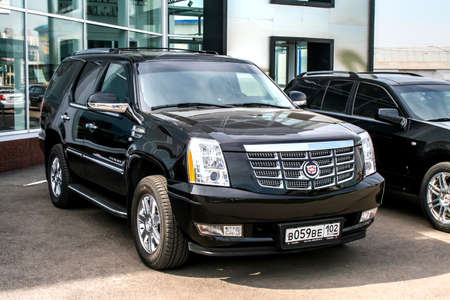 UFA, RUSSIA - JUNE 21, 2008: Motor car Cadillac Escalade at the trade center.
