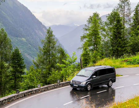 TYROL, AUSTRIA - JULY 29, 2014:  Black luxury van Mercedes-Benz W639 Vito at the Grossglockner High Alpine road.
