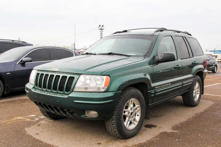 jeep: UFA, RUSSIA - APRIL 19, 2012: Motor car Jeep Grand Cherokee at the used cars trade center.