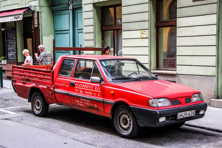 panel van: BUDAPEST, HUNGARY - JULY 23, 2014: Motor car Daewoo-FSO Polonez at the city street.