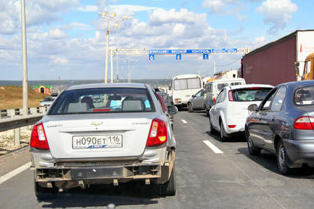 congestion: TATARSTAN, RUSSIA - AUGUST 27, 2011: Huge traffic congestion at the interurban freeway.