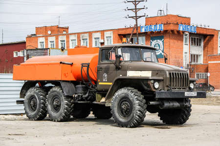 petrol bomb: NOVYY URENGOY, RUSSIA - MAY 18, 2015: Cistern truck Ural 4320 at the city street. Editorial