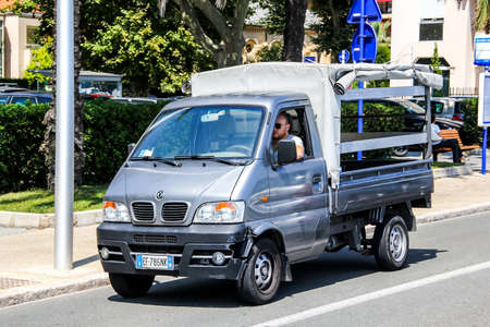 MENTON, FRANCE - AUGUST 2, 2014: Chinese microvan DongFeng Victoria at the city street. Editorial
