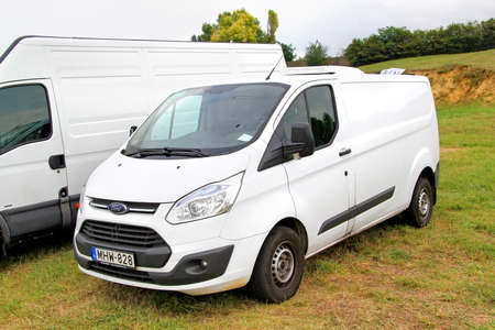 cargo van: BUDAPEST, HUNGARY - JULY 27, 2014: White cargo van Ford Transit at the grass field.