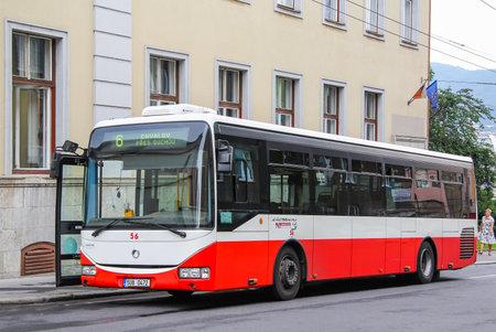 crossway: USTI NAD LABEM, CZECH REPUBLIC - JULY 21, 2014: Modern city bus Irisbus Crossway LE at the city street.