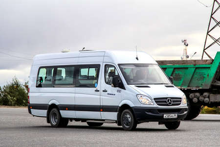 NOVYY URENGOY, RUSSIA - AUGUST 17, 2012: Modern minibus Mercedes-Benz W906 Sprinter at the city street. Editorial