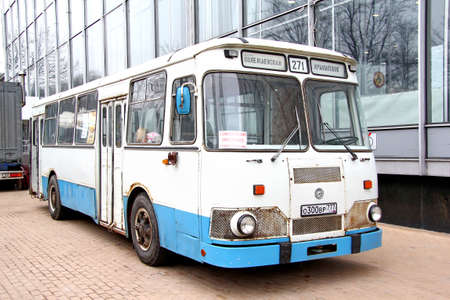 legendary: MOSCOW, RUSSIA - MARCH 8, 2015: Legendary Soviet city bus LiAZ-677M at the city street. Editorial