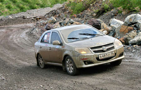 mk: BAKAL, RUSSIA - AUGUST 8: Alexey Salovs Geely MK No. 78 competes at the annual Rally Southern Ural on August 8, 2009 in Bakal, Satka district, Chelyabinsk region, Russia.