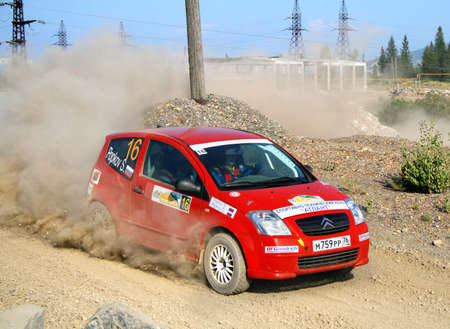 supercharged: BAKAL, RUSSIA - AUGUST 13: Sergey Popkovs Citroen C2 No. 16 competes at the annual Rally Southern Ural on August 13, 2010 in Bakal, Satka district, Chelyabinsk region, Russia. Editorial