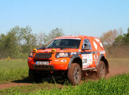 rudy: TATARSTAN, RUSSIA - JUNE 15: Rudy Roquesalanes Land Rover Freelander competes at the rally Transorientale 2008 on June 15, 2008 near town of Naberezhnye Chelny, Tatarstan, Russia.