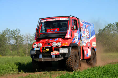 supercharged: TATARSTAN, RUSSIA - JUNE 15: Giulio Verzelettis Unimog No. 429 competes at the rally Transorientale 2008 on June 15, 2008 near town of Naberezhnye Chelny, Tatarstan, Russia.