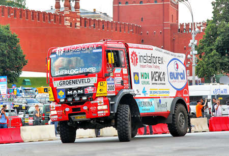 proto: MOSCOW, RUSSIA - JULY 7: Ales Lopraiss MAN TGS No. 300 of Instaforex Eurol Veka Team takes part at the annual Silkway Rally - Dakar series on July 7, 2012 in Moscow, Russia. Editorial