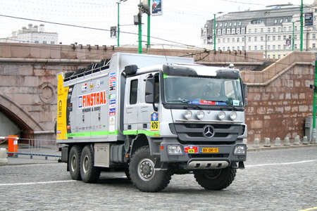 rob: MOSCOW, RUSSIA - JULY 10: Rob van Pelts Mercedes Axor assistance No. 476 competes at the annual Rally Silkway - Dakar series on July 10, 2011 on the Red Square, Moscow, Russia.