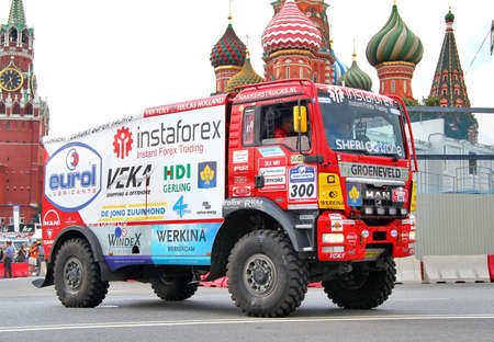 MOSCOW, RUSSIA - JULY 7: Ales Loprais's MAN TGS No. 300 of Instaforex Eurol Veka Team takes part at the annual Silkway Rally - Dakar series on July 7, 2012 in Moscow, Russia.