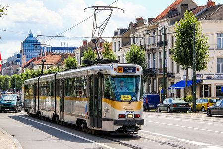 bn: BRUSSELS, BELGIUM - AUGUST 9, 2014: Passenger tramway BN PCC at the city street.