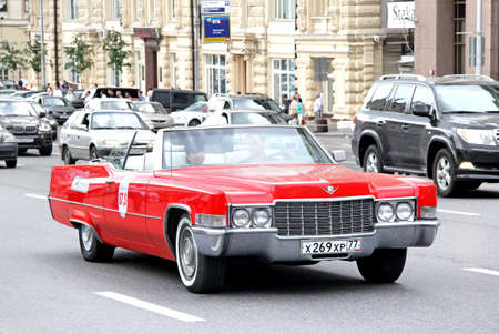 pretentious: MOSCOW, RUSSIA - JUNE 2, 2013: American motor car Cadillac DeVille competes at the annual L.U.C. Chopard Classic Weekend Rally.