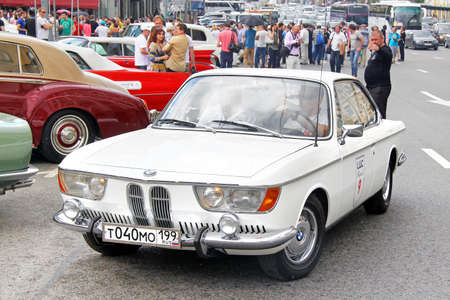 museum rally: MOSCOW, RUSSIA - JUNE 2, 2013: German motor car BMW 2000CS competes at the annual L.U.C. Chopard Classic Weekend Rally.