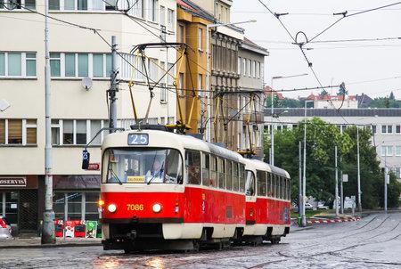 motor de carro: PRAGUE, CZECH REPUBLIC - JULY 21, 2014: Tramway Tatra T3SUCS at the city street.