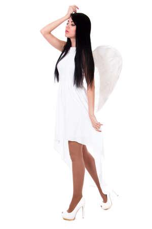 scruple: Beautiful angel isolated over white background Stock Photo