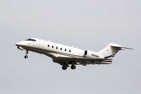 challenger: MOSCOW, RUSSIA - MAY 10, 2013: Private jet Bombardier Challenger 300 takes off the Domodedovo International Airport.