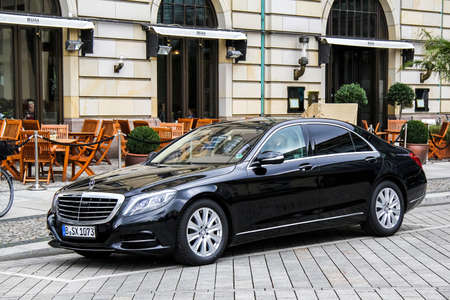 mercedes: BERLIN, GERMANY - SEPTEMBER 12, 2013: Motor car Mercedes-Benz W222 S-class at the city street.