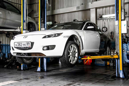 mazda: NOVYY URENGOY, RUSSIA - OCTOBER 17, 2015: Motor car Mazda RX-8 at the service station.
