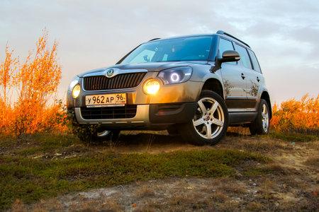 NOVYY URENGOY, RUSSIA - AUGUST 30, 2015: Motor car Skoda Yeti at the countryside. Editorial