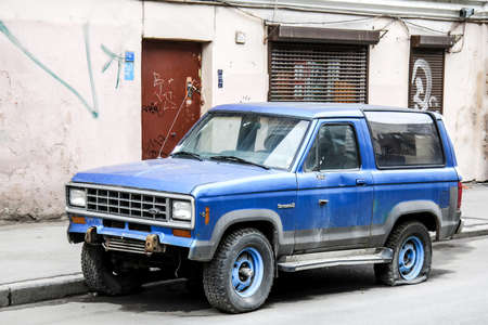 SAINT PETERSBURG, RUSSIA - MAY 26, 2013: Motor car Ford Bronco II at the city street. Editorial
