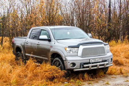 toyota: NOVYY URENGOY, RUSSIA - SEPTEMBER 19, 2015: Motor car Toyota Tundra at the autumn tundra. Editorial