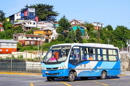 minibus: PUERTO MONTT, CHILE - NOVEMBER 20, 2015: Blue minibus Maxibus Astor at the city street. Editorial