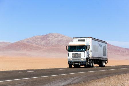 semitrailer: ATACAMA, CHILE - NOVEMBER 14, 2015: Semi-trailer truck Freightliner Argosy at the Pan-American Highway. Editorial