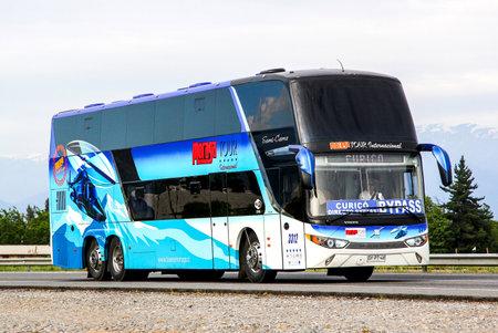 intercity: OHIGGINS, CHILE - NOVEMBER 19, 2015: Intercity coach Modasa Zeus at the Pan-American Highway.