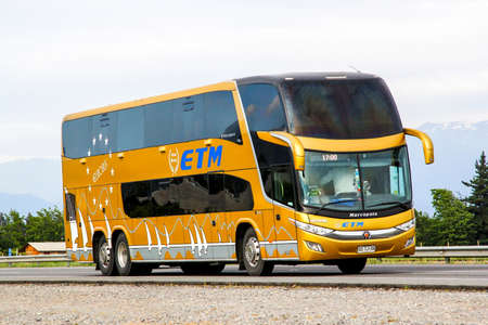 OHIGGINS, CHILE - NOVEMBER 19, 2015: Intercity coach Marcopolo Paradiso 1800DD at the Pan-American Highway.
